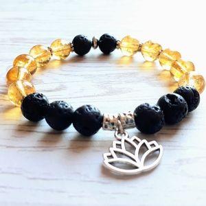Citrine Gemstone Lotus Diffuser Bracelet
